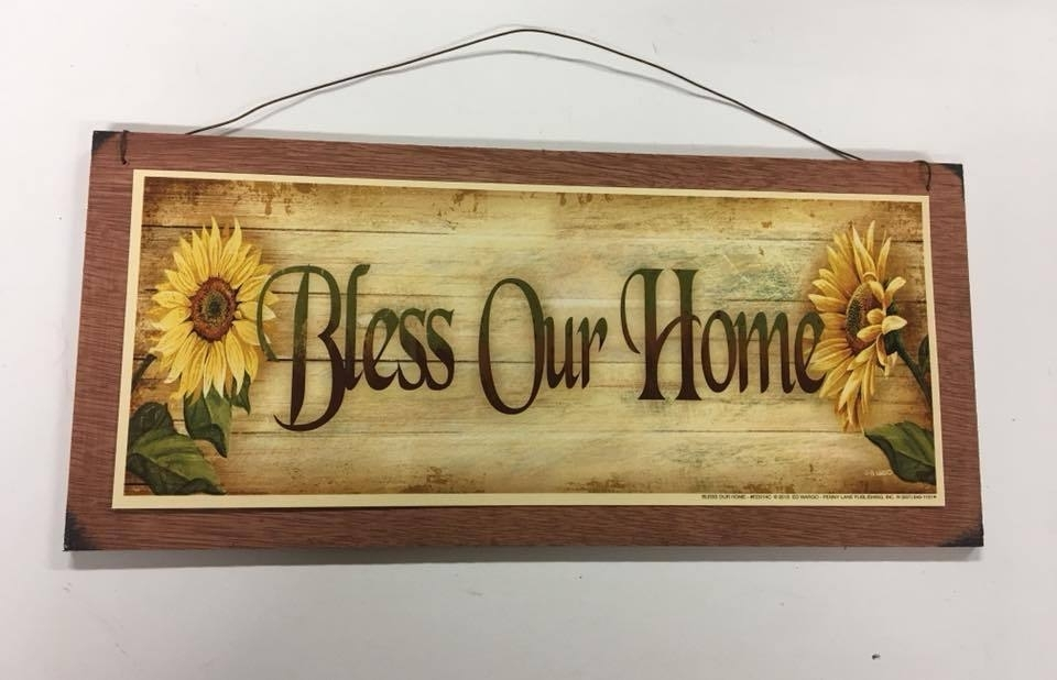 Sunflowers Bless Our Home Country Kitchen Wooden Wall Art Sign Wood Pertaining To 2018 Country Wall Art (View 8 of 20)