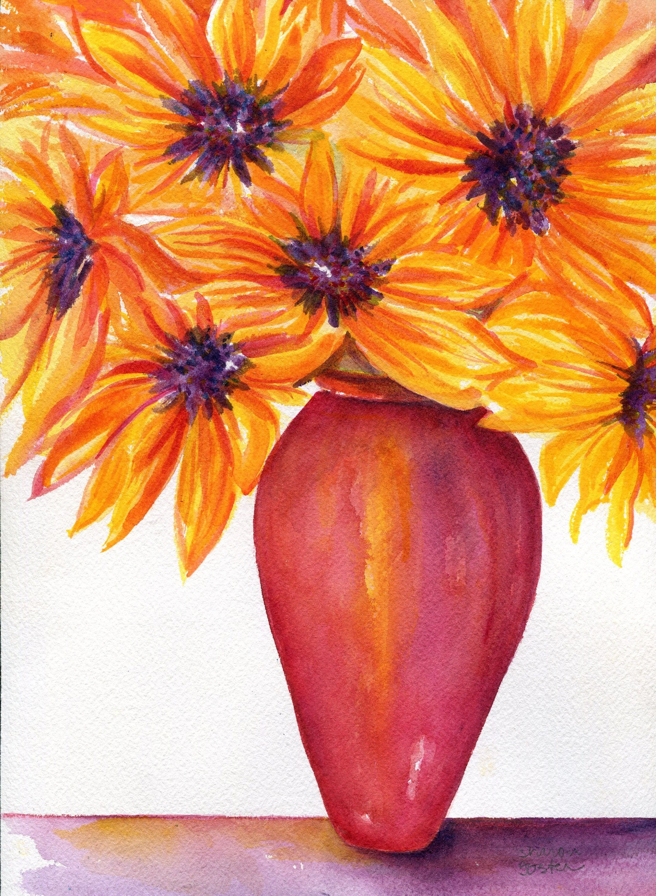Sunflowers Watercolors Painting Original, Sunflower Wall Art Throughout 2017 Sunflower Wall Art (View 16 of 20)