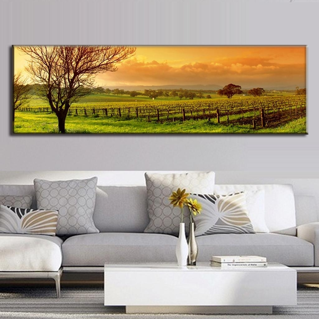Super Large Single Picture Landscape Vineyard Canvas Printed Inside Latest Large Canvas Painting Wall Art (View 20 of 20)
