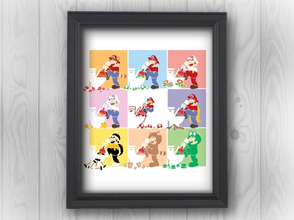 Super Mario Bros Nes Nintendo Andy Warhol | Minimalist Pop Art Throughout Newest Nintendo Wall Art (View 15 of 20)