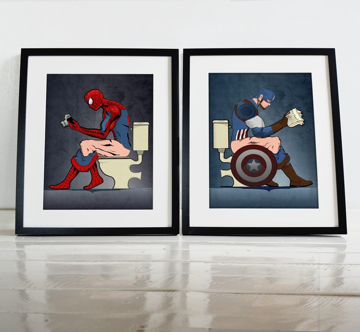 Superhero Spiderman And Captain America On The Toilet Poster Wall Intended For Most Up To Date Captain America Wall Art (View 13 of 15)