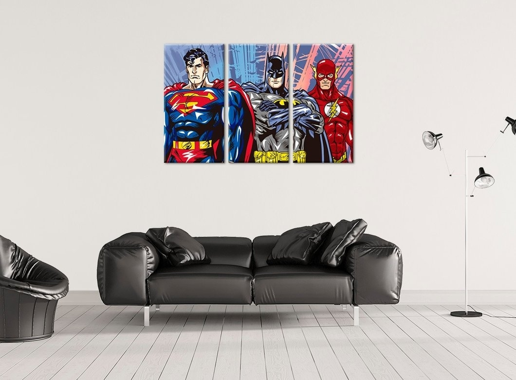 Superhero Wall Art Batman, Superman And Ironman Handmade Canvas With Most Up To Date Superhero Wall Art (View 12 of 20)