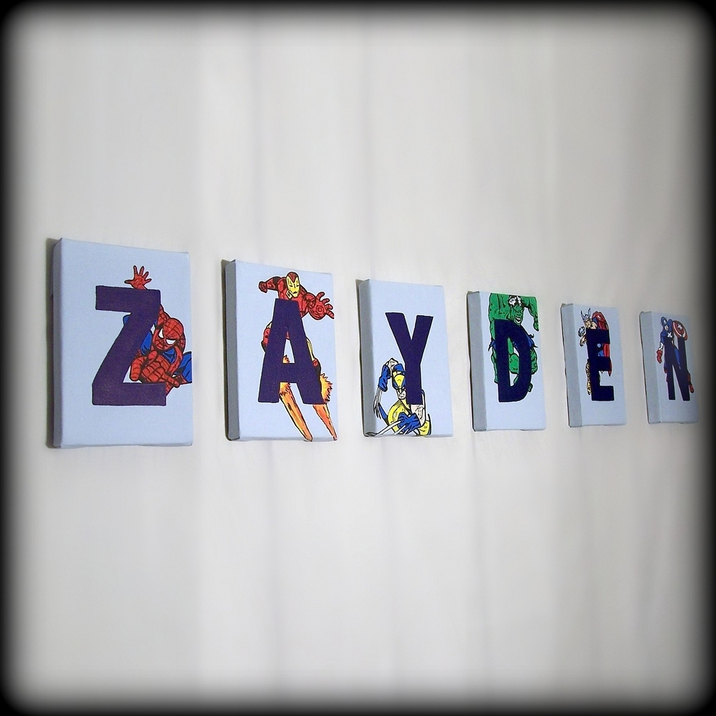 Superheroes Name Wall Art | Art For Children, Letter Paintin… | Flickr Regarding Most Current Superhero Wall Art (Gallery 13 of 20)