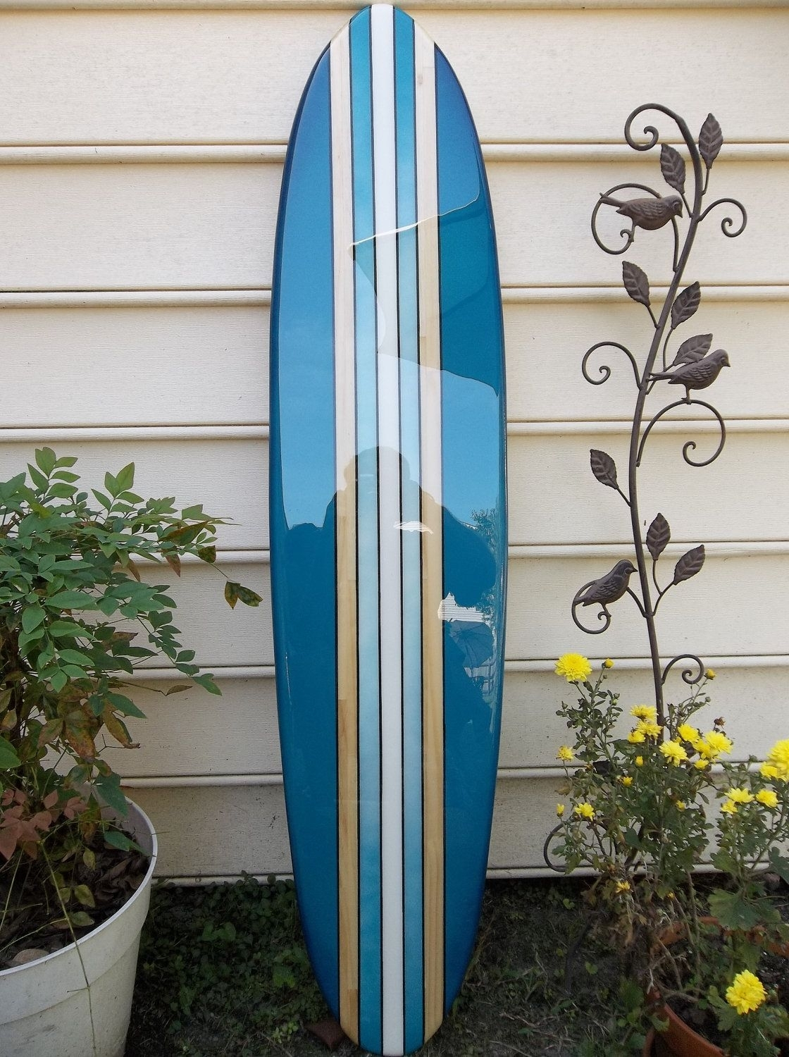 Surfboard Wall Hanging, Surfboard Wall Art , Deep Aqua Old School Throughout Most Recent Surfboard Wall Art (View 15 of 20)