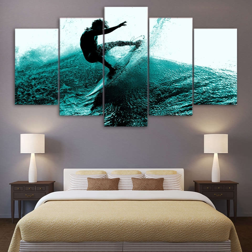 Surfing Hitting The Waves Wall Art Multi Panel Canvas – Mighty Paintings In Most Recently Released Panel Wall Art (View 14 of 20)