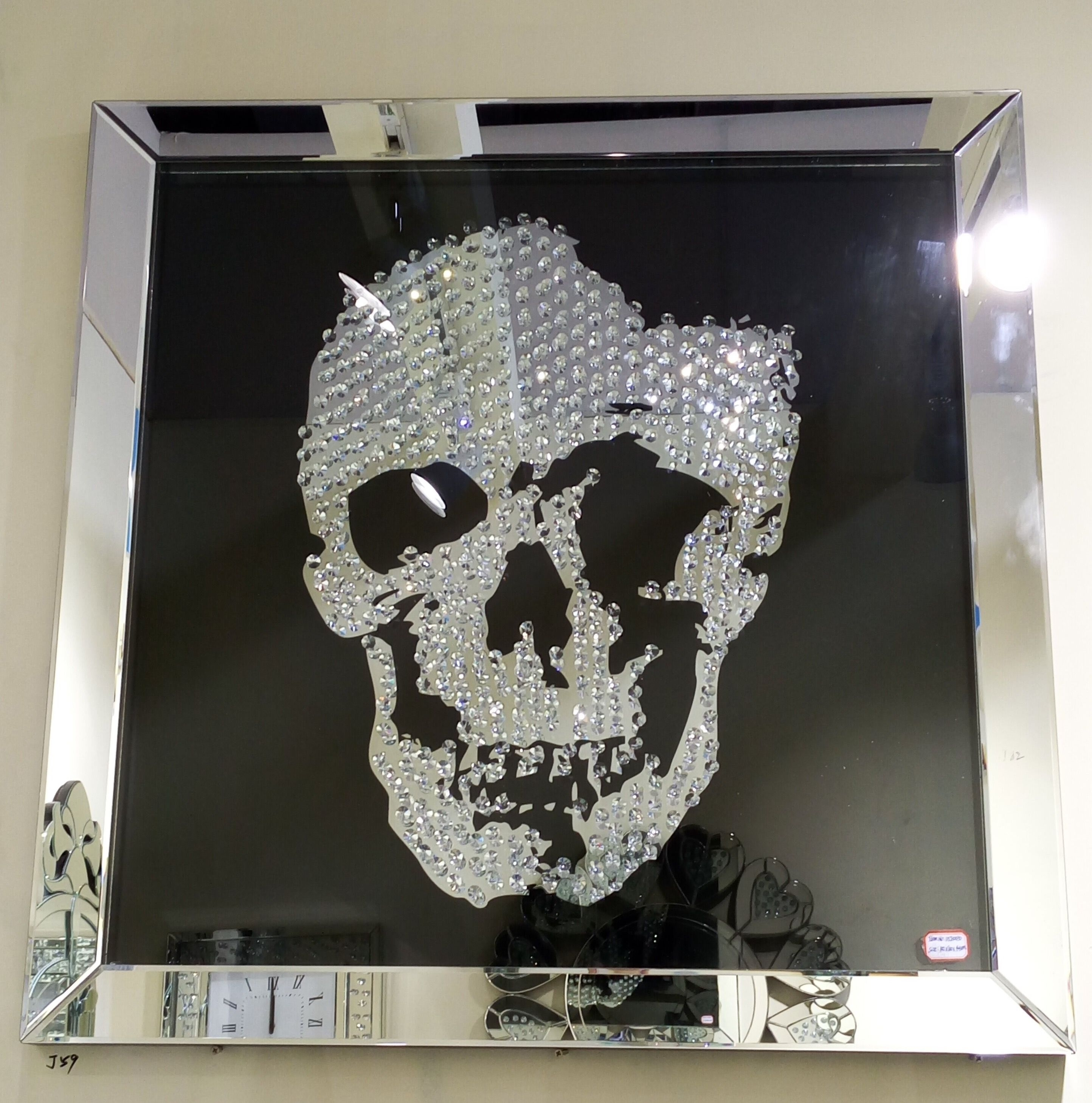 Swarovski Crystal Skull Wall Art With A Silver Mirrored Frame And In Recent Mirrored Wall Art (View 20 of 20)