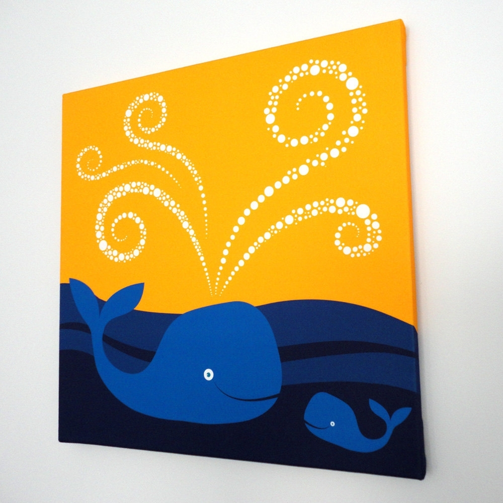Swimming Whales Fabric Canvas Wall Art – Modern Baby Nursery Kids With Regard To Latest Whale Canvas Wall Art (Gallery 4 of 20)