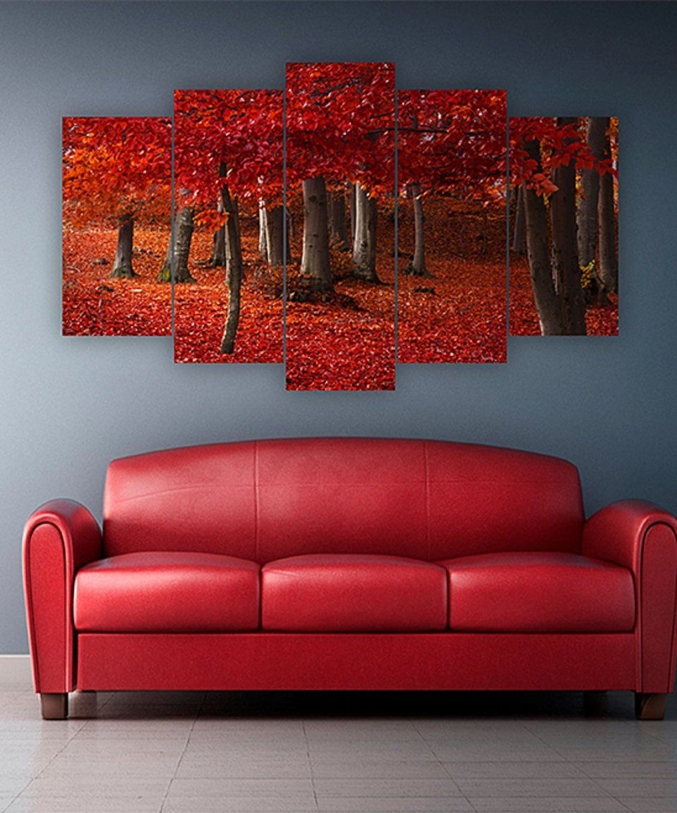 Take A Look At This Red Leaves Five Piece Horizontal Wall Art Today With Regard To Current Horizontal Wall Art (View 16 of 20)