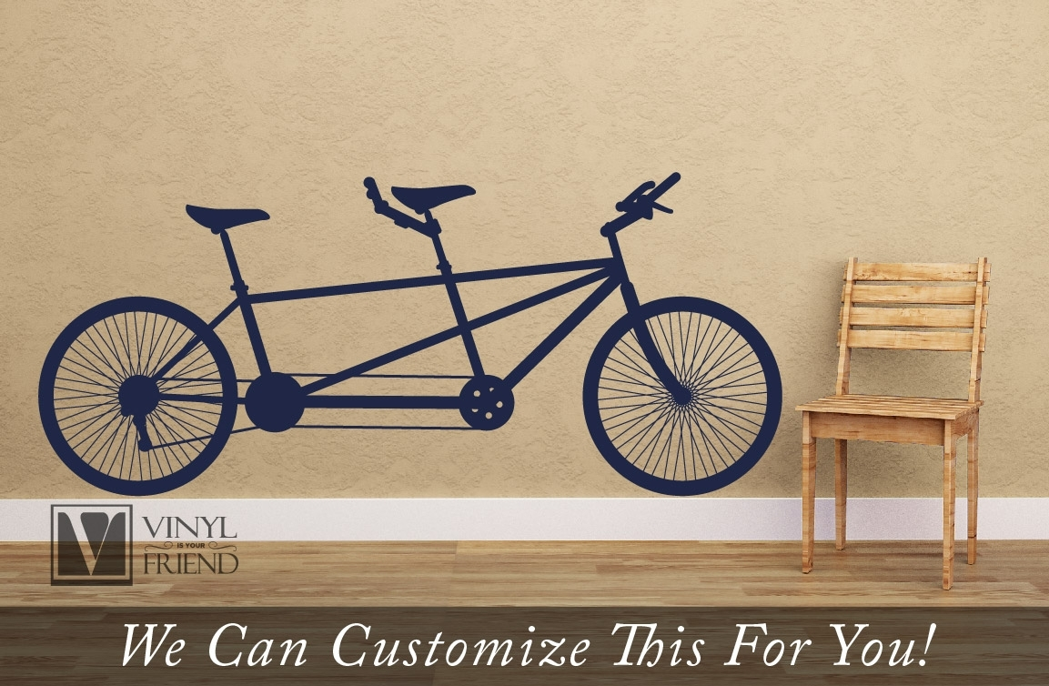 Tandem Road Bicycle Retro Vintage Wall Decor Vinyl Decal A Sports In Most Current Bicycle Wall Art (View 6 of 20)