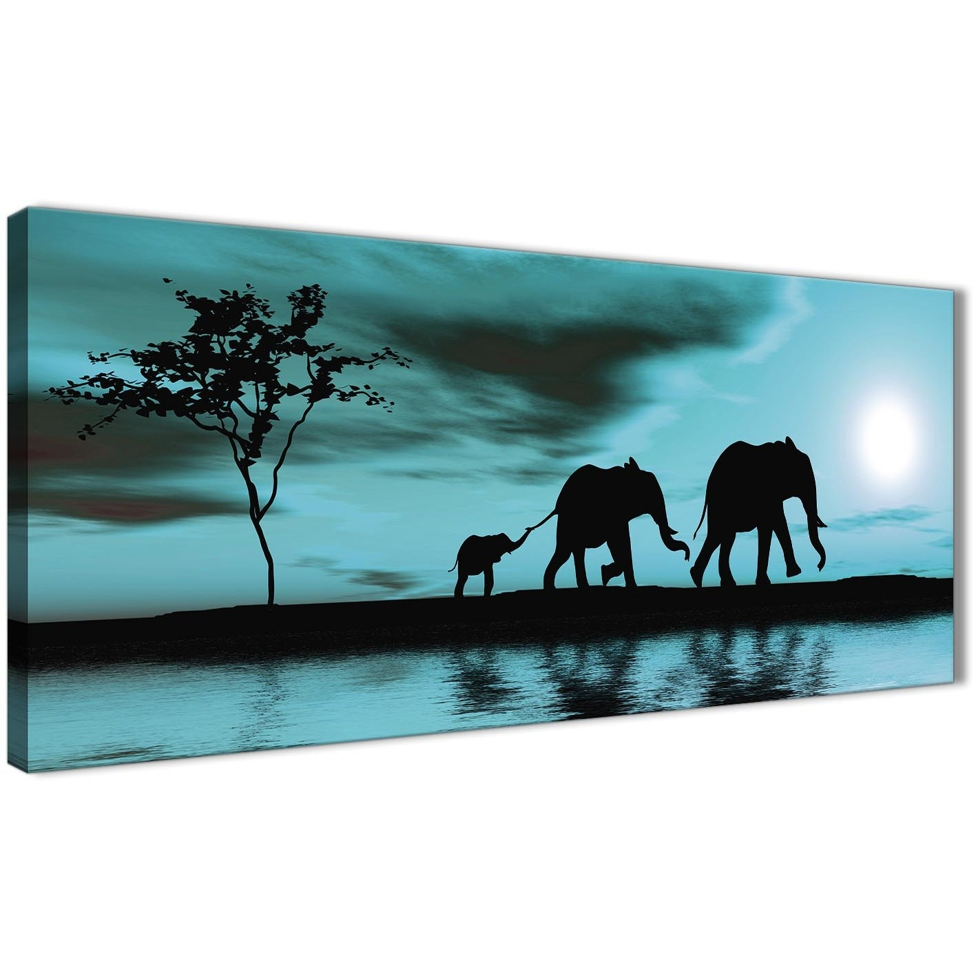 Teal African Sunset Elephants Canvas Wall Art Print – Modern 120cm With Most Recent Teal Wall Art (Gallery 2 of 15)