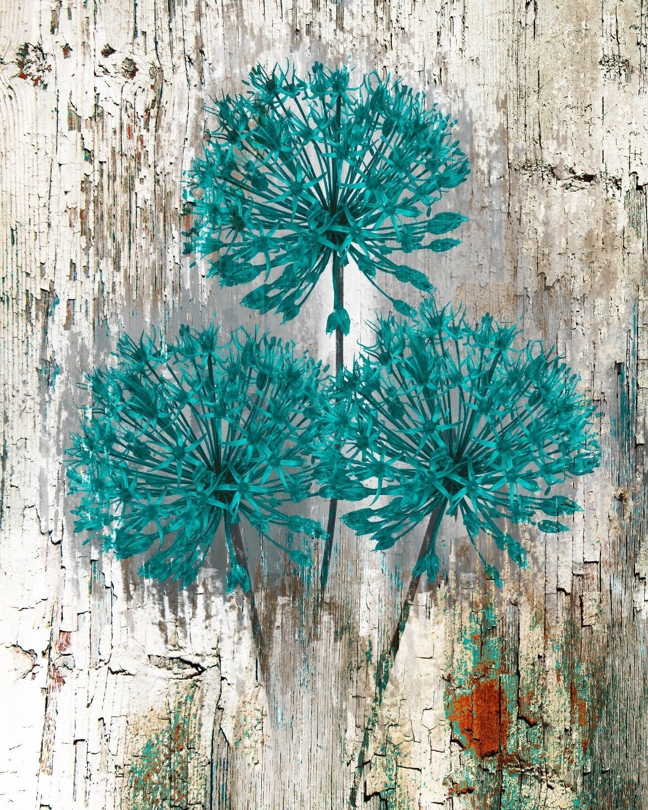 Teal Brown Rustic Distressed Flower Wall Art Home Decor Matted With Best And Newest Teal Wall Art (Gallery 15 of 15)