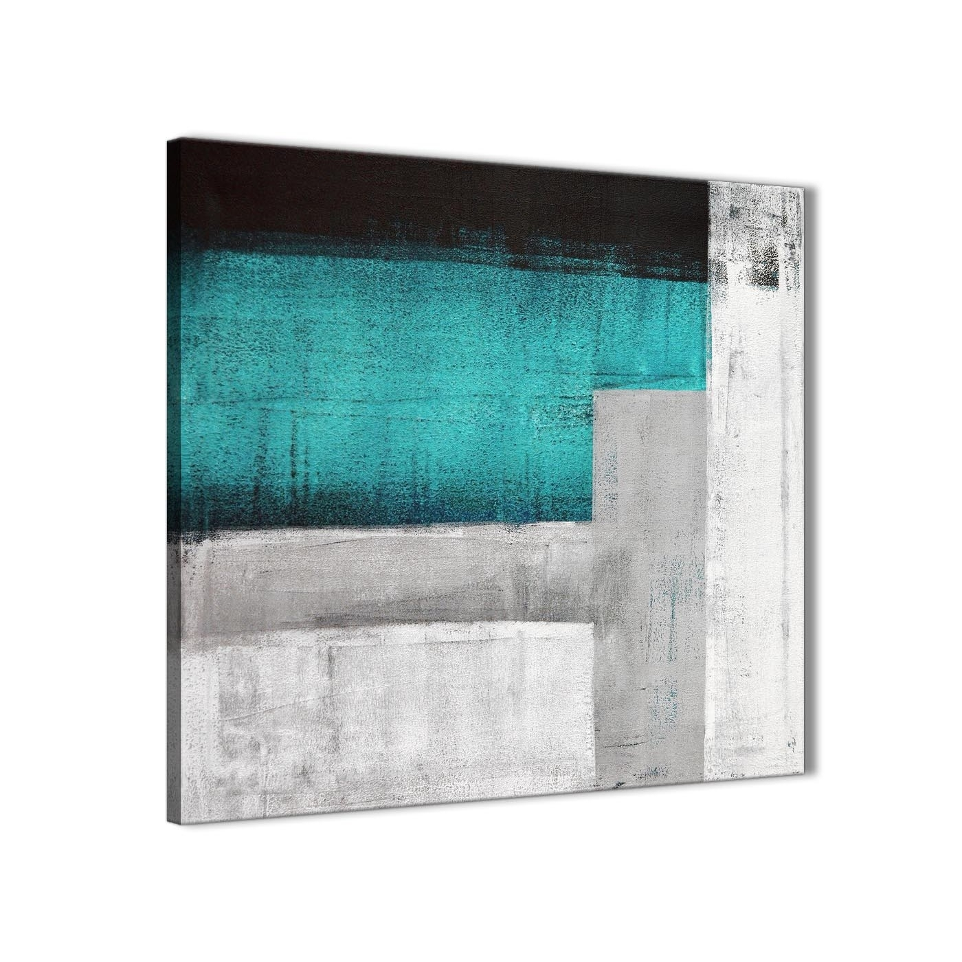 Teal Turquoise Grey Painting Bathroom Canvas Wall Art Accessories Inside Current Turquoise Wall Art (Gallery 4 of 20)