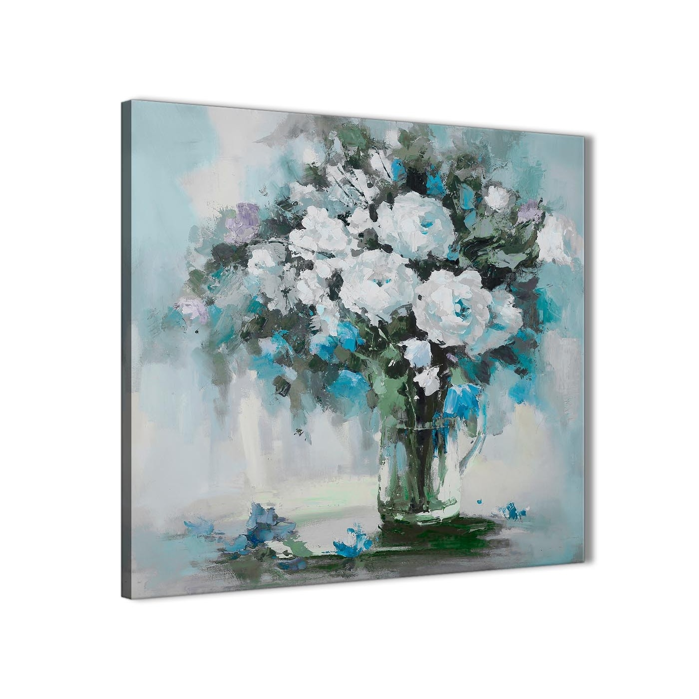 Teal White Flowers Painting Bathroom Canvas Wall Art Accessories In Recent Floral Canvas Wall Art (View 14 of 20)