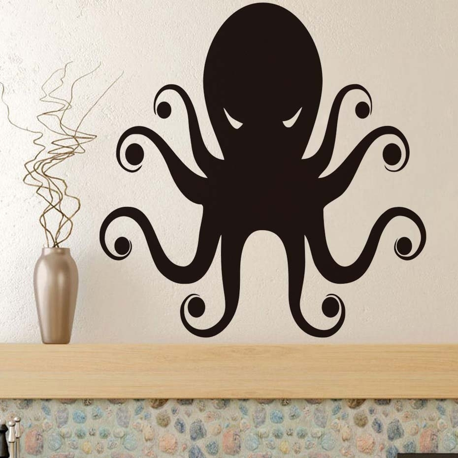 Terrible Eyes Octopus Wall Art Stickers Black Wall Stickers For Kids Pertaining To 2017 Octopus Wall Art (View 20 of 20)