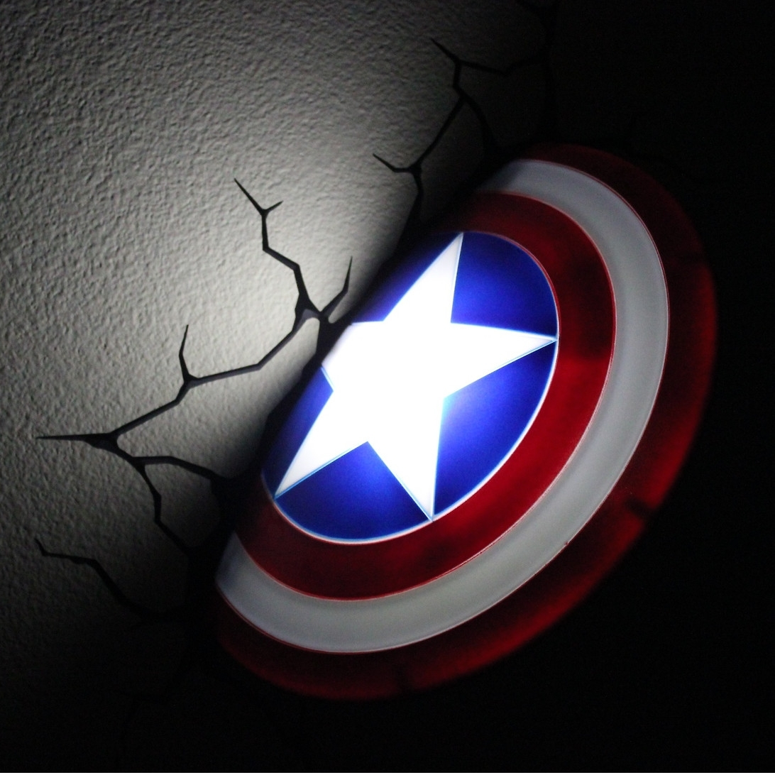 The Avengers 3D Wall Nightlight – Captain America | This Stuff Online With 2018 Captain America Wall Art (View 14 of 15)