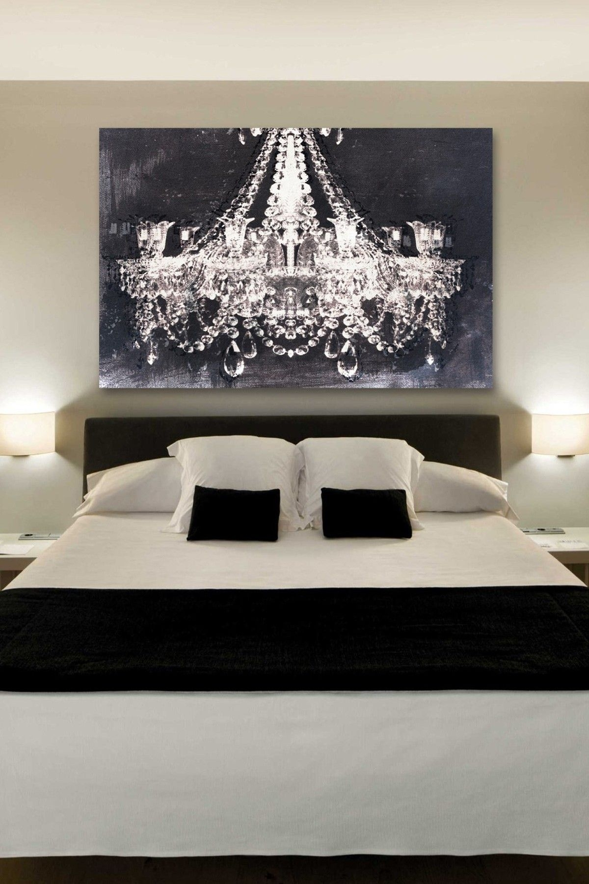 The Chandelier Art Gives Such A Romantic Touch To This Bedroom Intended For Best And Newest Chandelier Wall Art (View 18 of 20)
