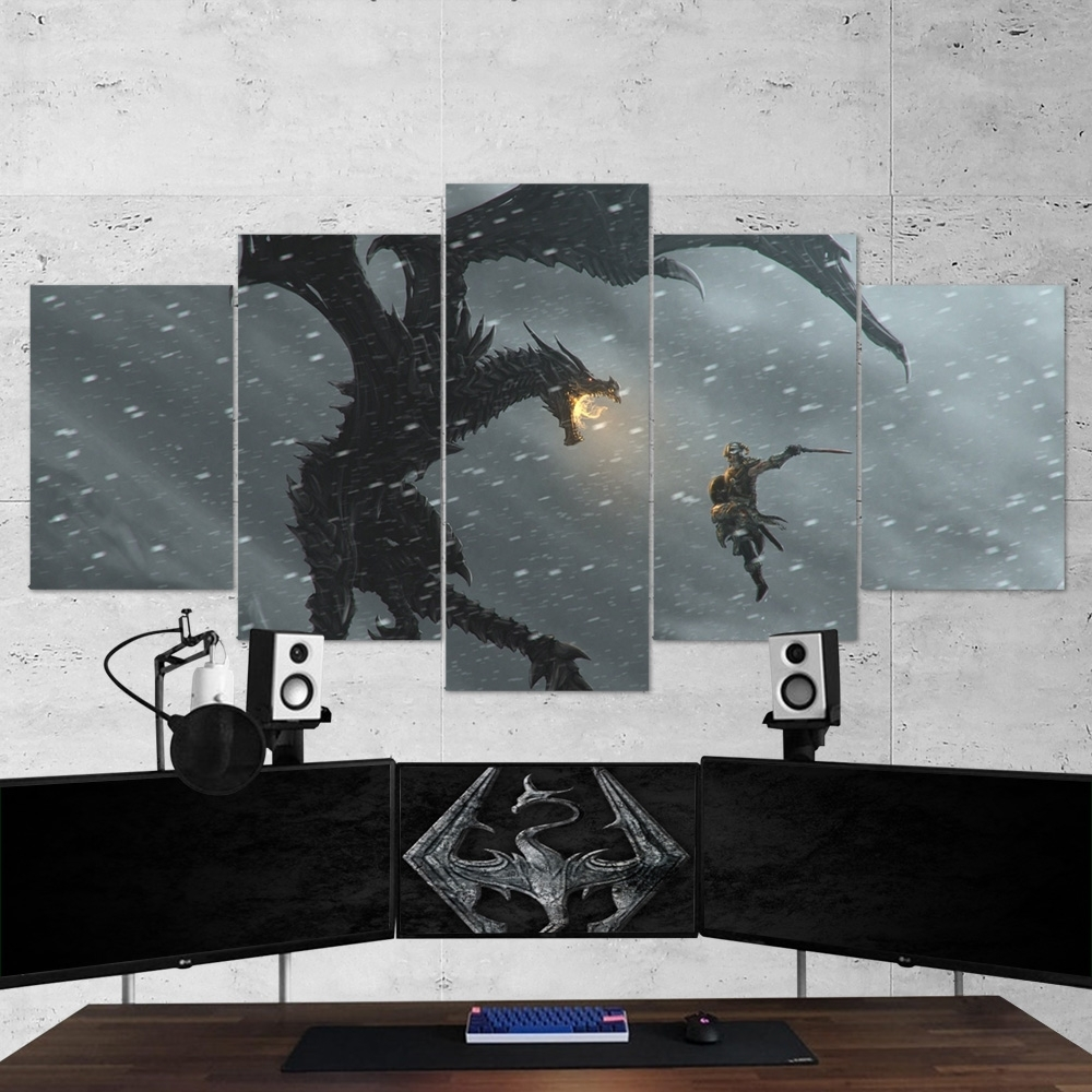 The Elder Scrolls 22 V Skyrim 5 Piece Canvas Wall Art Gaming Canvas Pertaining To 2017 Five Piece Canvas Wall Art (View 19 of 20)