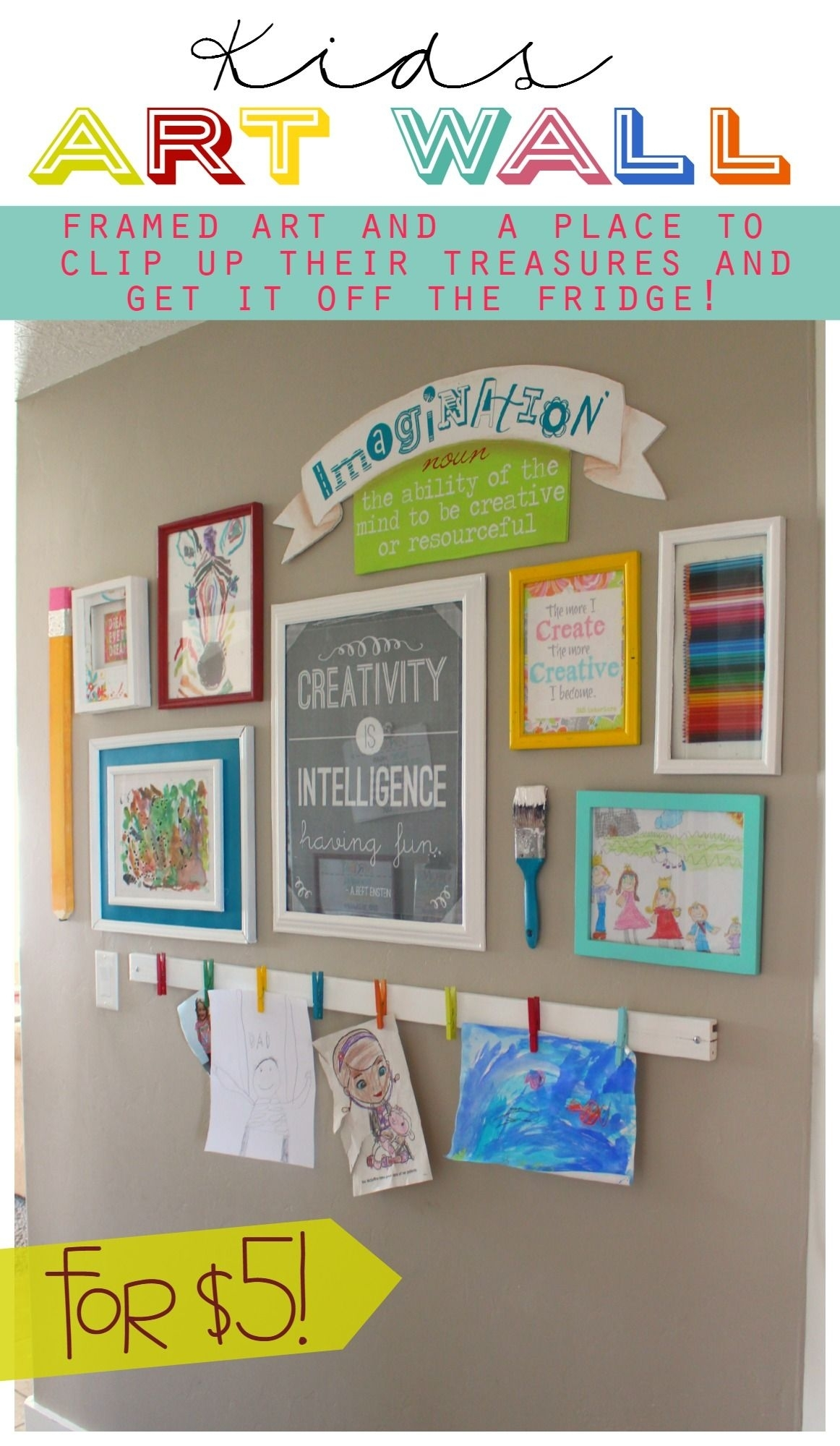 The Evolution Of An Art Wall | Crafts And Creativity | Pinterest For Best And Newest Kids Wall Art (Gallery 10 of 15)