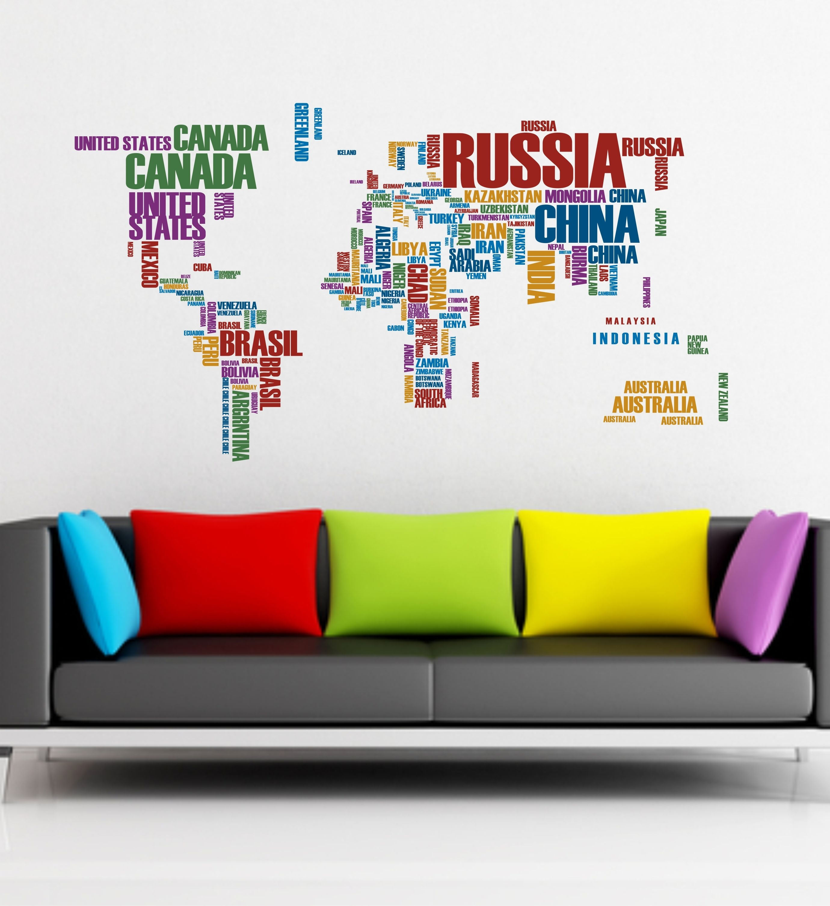 The Grafix Studio | 02 World Map Wall Sticker Art Vinyl Intended For Current Vinyl Wall Art World Map (View 1 of 20)