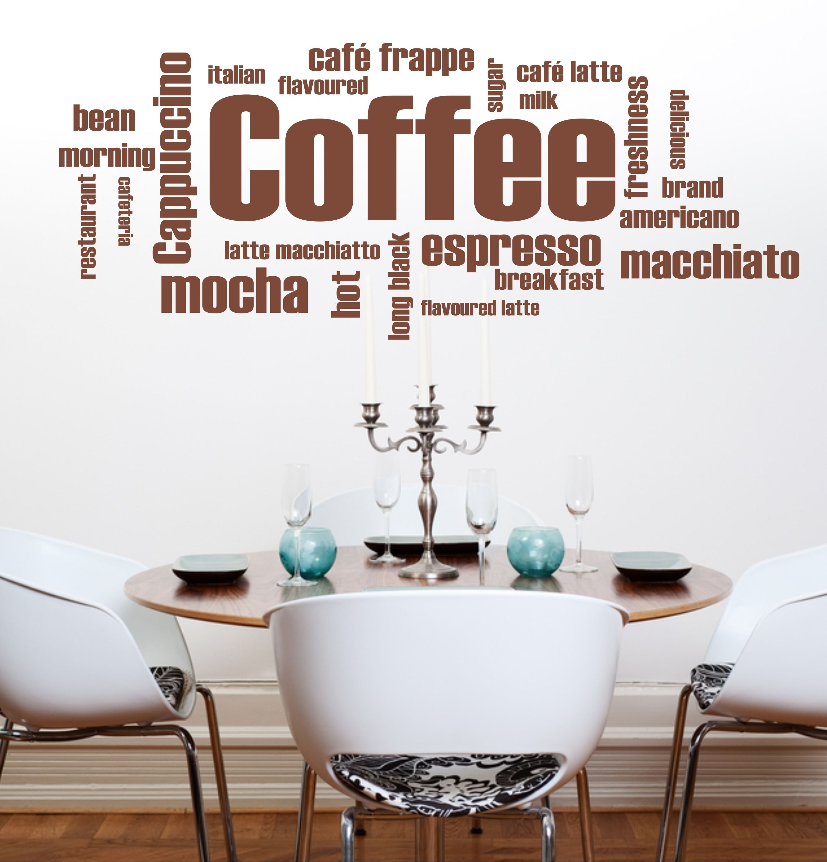 The Grafix Studio | 09 Coffee Words Wall Art Sticker Inside Best And Newest Coffee Wall Art (View 1 of 15)