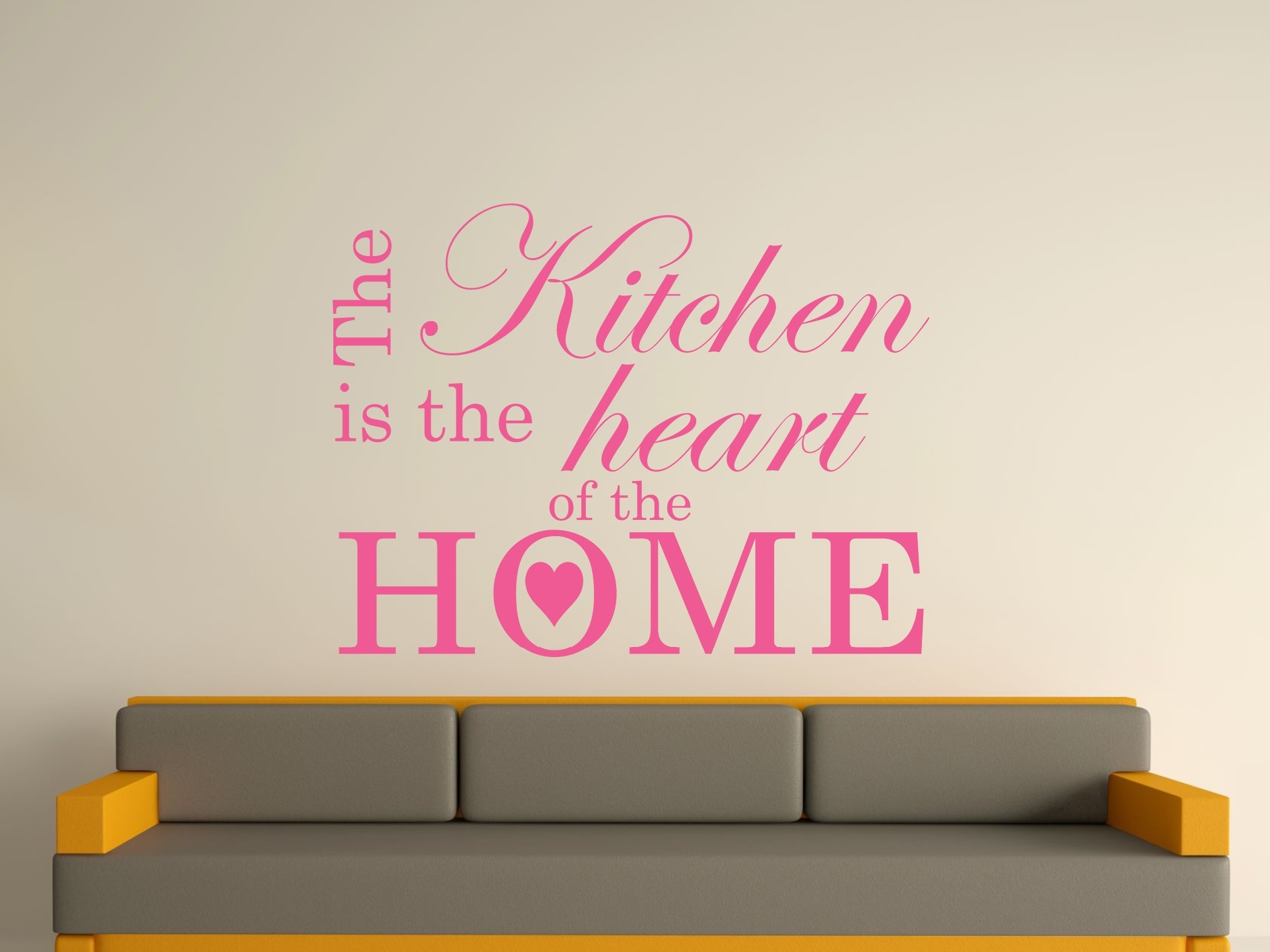 The Kitchen Is The Heart Of The Home Wall Art Sticker Text 3 Sizes Inside Most Up To Date Wall Sticker Art (Gallery 12 of 15)