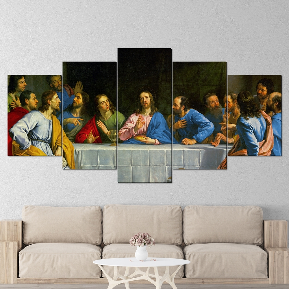 The Last Supper 5 Panel Canvas Wall Art – Roma's Memory Regarding Best And Newest 5 Panel Wall Art (View 9 of 20)