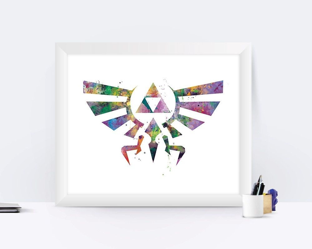 The Legend Of Zelda Art Print Zelda Poster Hyrule Crest Link With Regard To Most Current Nintendo Wall Art (View 19 of 20)