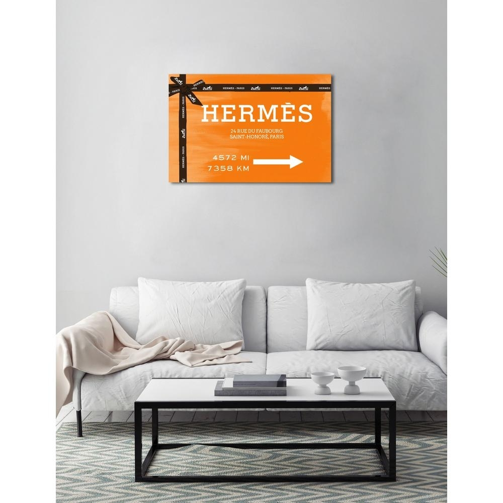 The Oliver Gal Artist Co. 24 In. X 36 In. 'faubourg Road Sign Orange Pertaining To Latest Orange Wall Art (Gallery 18 of 20)