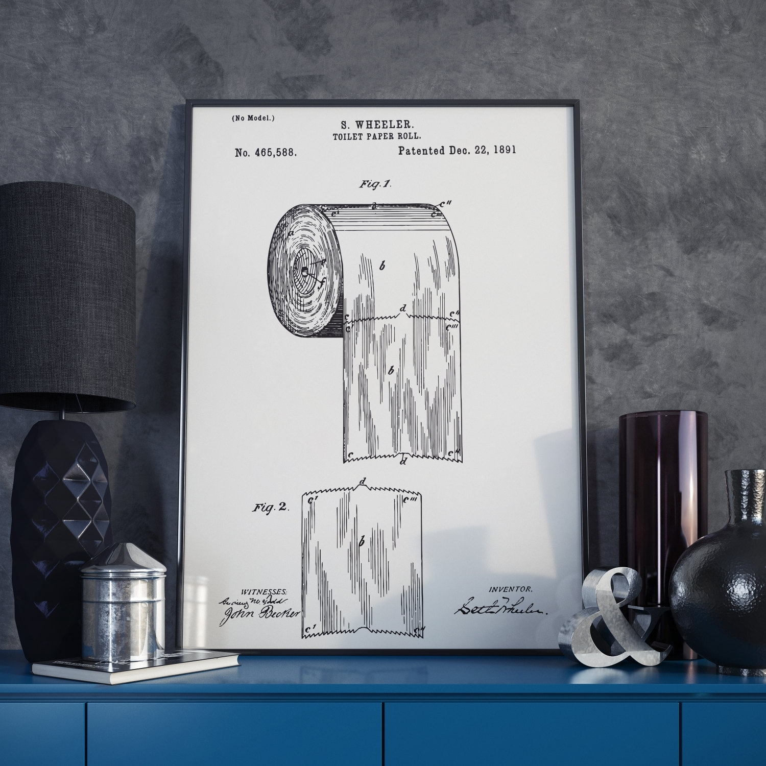 The Original Toilet Paper Roll Patent Print – 1891 Throughout Most Current Boston Wall Art (View 12 of 20)