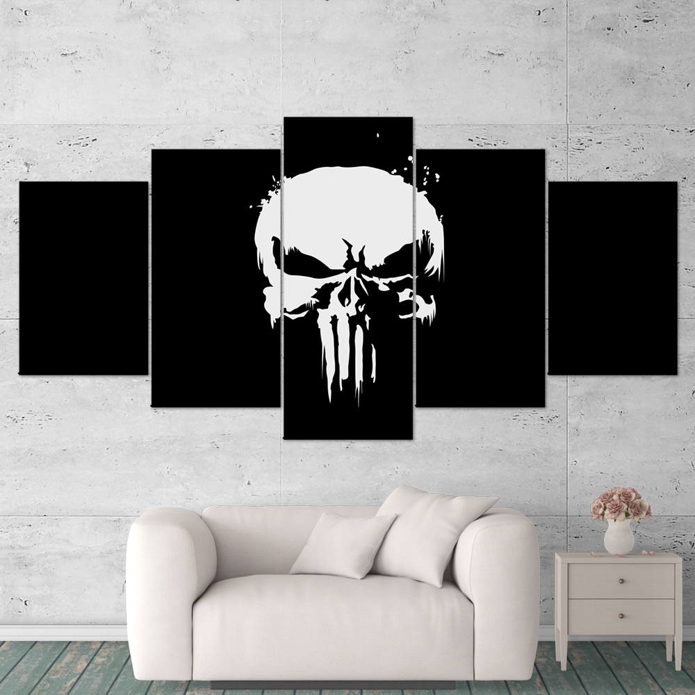 The Punisher 01 Logo 5 Piece Canvas Wall Art Gaming Canvas – Game With Regard To Most Up To Date 5 Piece Wall Art (View 6 of 20)