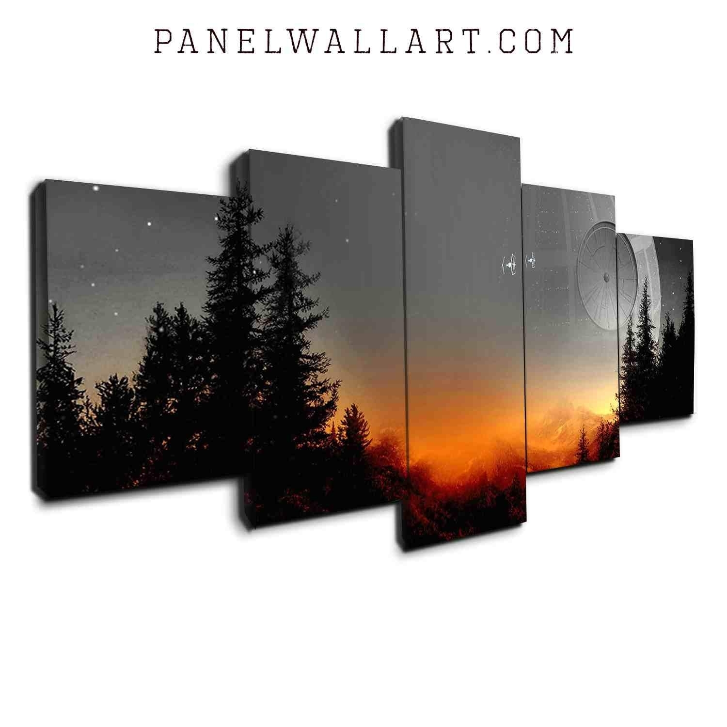 The Star Wars Death Star Scene | 5 Panel Wall Art Canvas Prints For Most Recent Wall Art Canvas (View 13 of 15)
