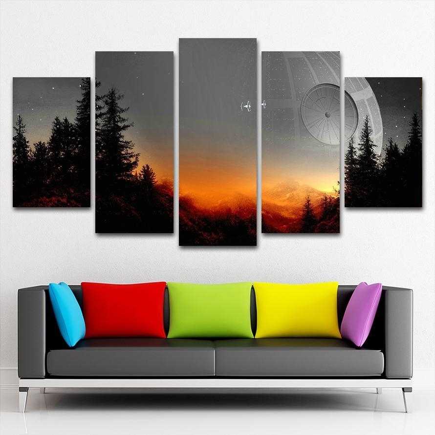 The Star Wars Death Star Scene | 5 Panel Wall Art Canvas Prints Throughout Current 5 Panel Wall Art (View 16 of 20)