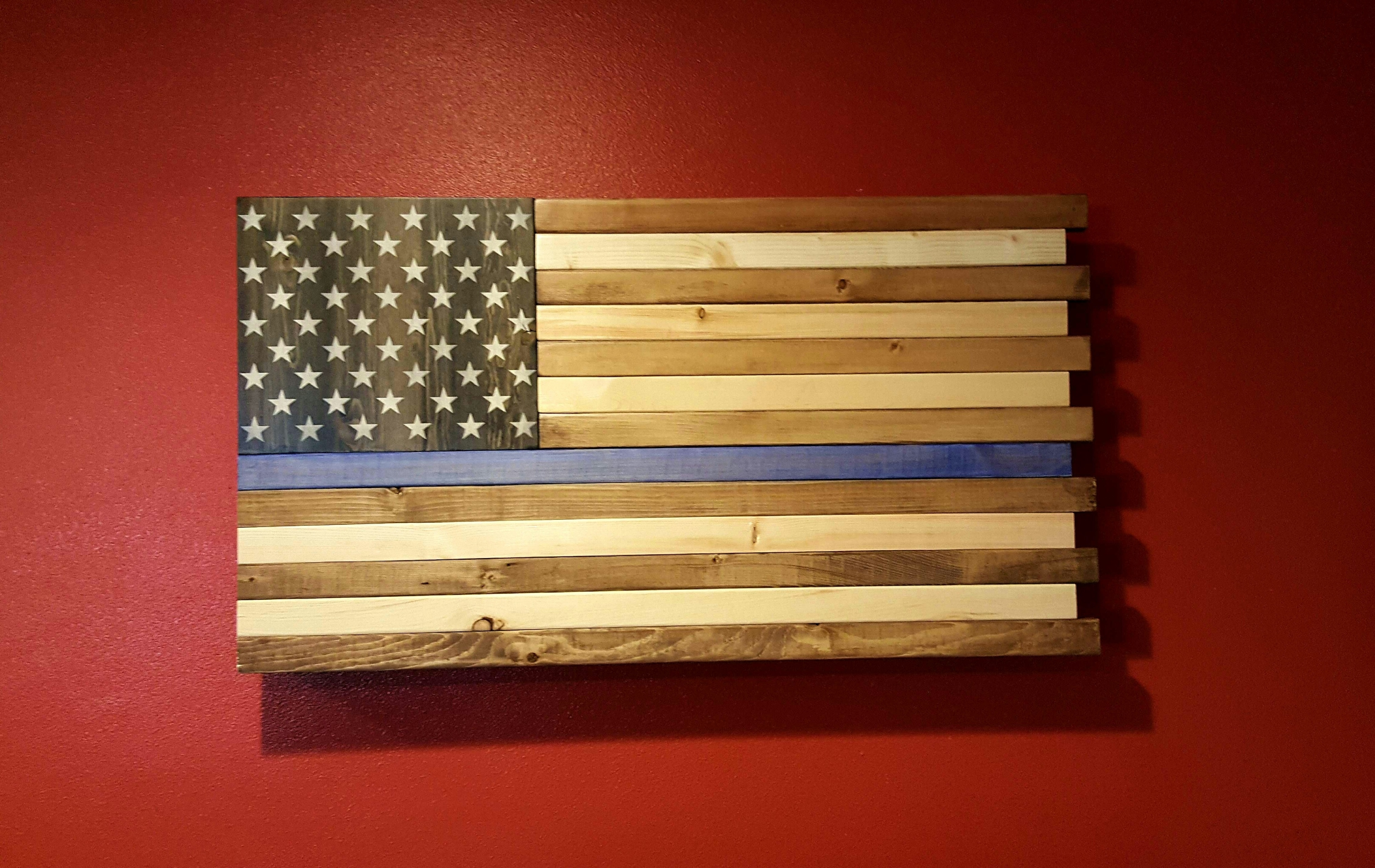 The Thin Blue Line Rustic American Flag Wall Art Regarding Most Current Rustic American Flag Wall Art (Gallery 9 of 20)