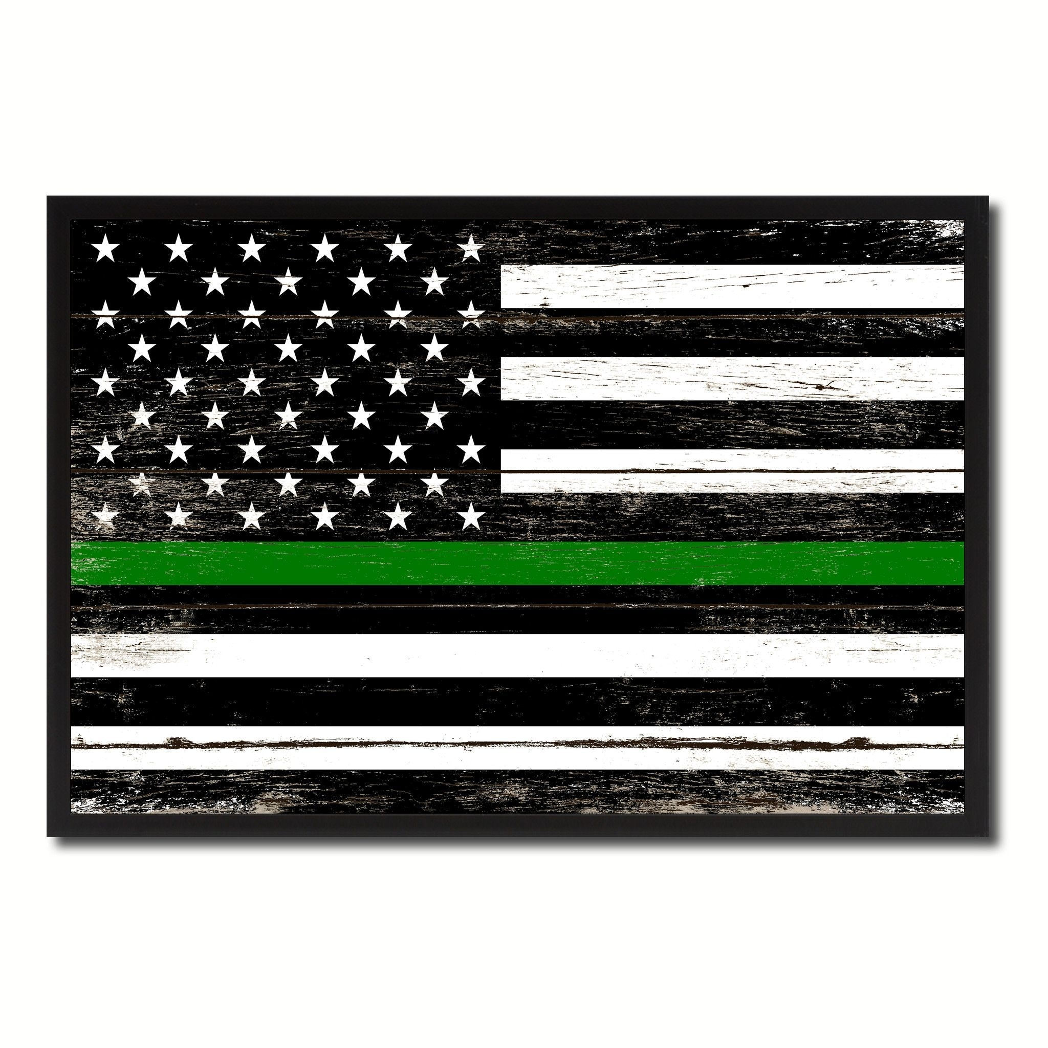 Thin Green Line Support Border Patrol American Usa Flag Vintage Throughout Most Up To Date Vintage American Flag Wall Art (View 12 of 20)