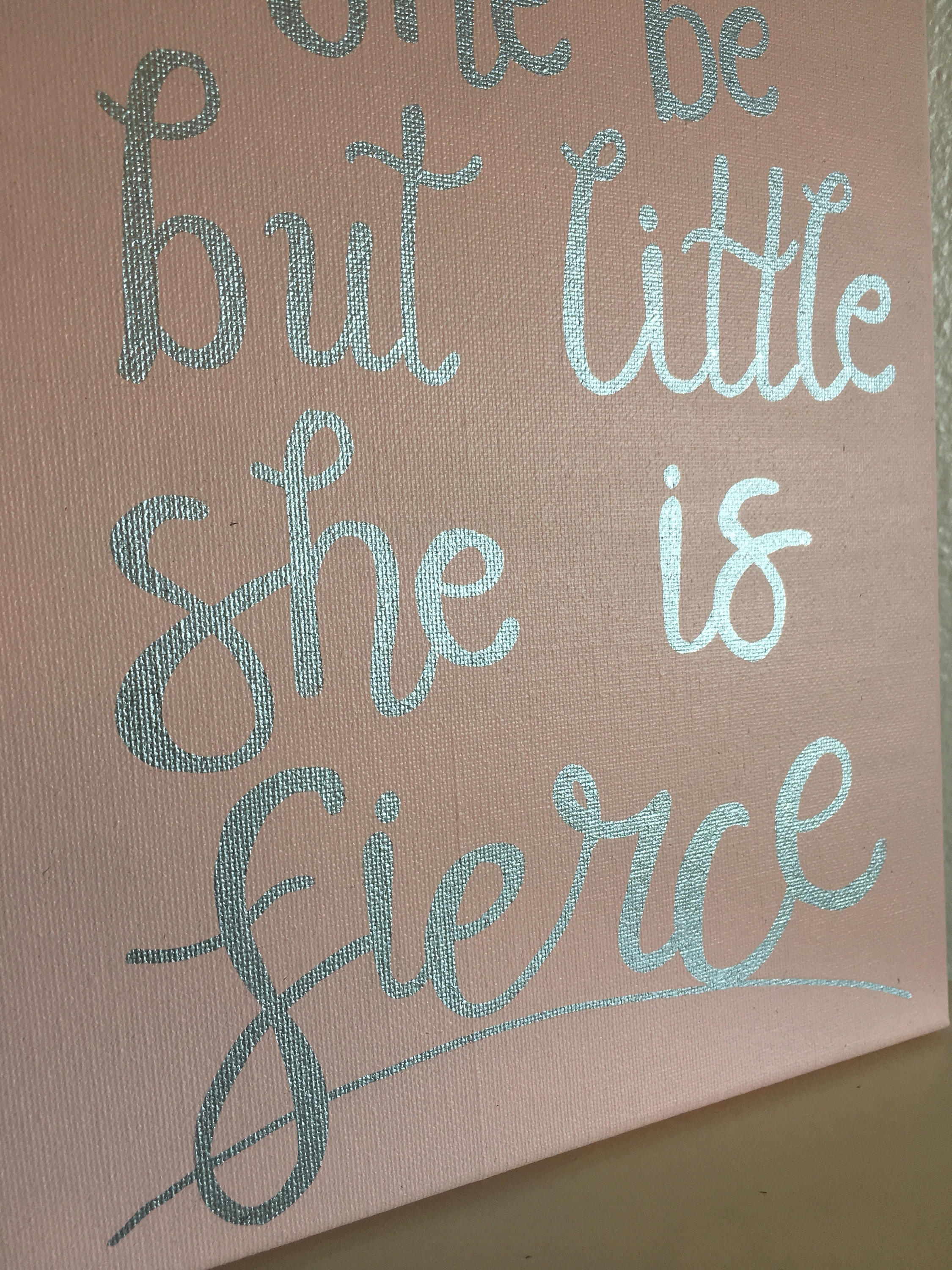 Though She Be But Little She Is Fierce Canvas Wall Art // Sorority Within Most Recent Though She Be But Little She Is Fierce Wall Art (View 12 of 20)
