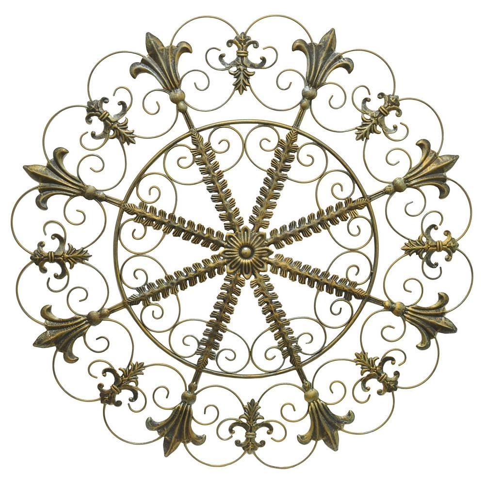 Three Hands Metal Scroll Wall Art – Antique Gold 94151 – The Home Depot Inside 2018 Metal Scroll Wall Art (View 7 of 20)
