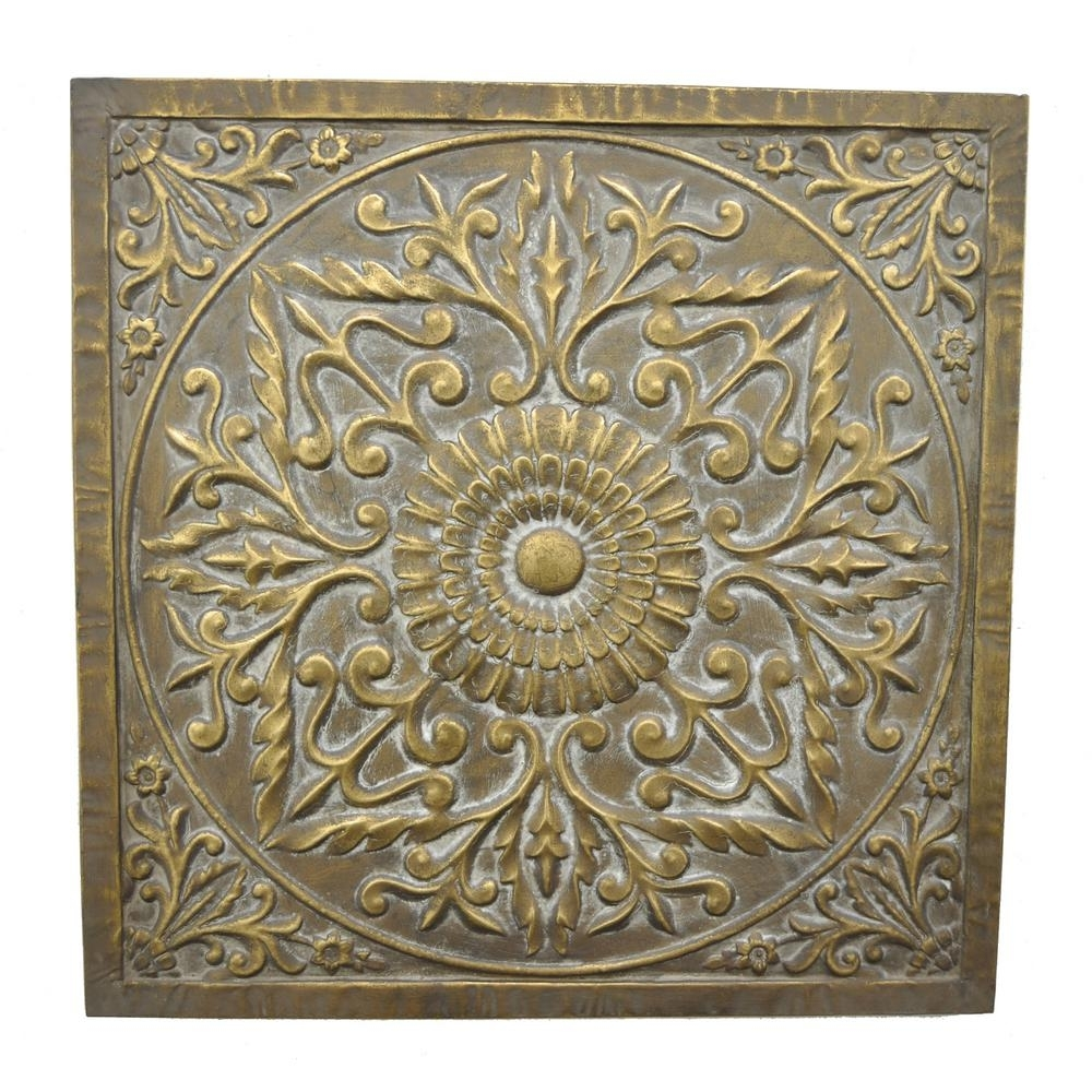 Three Hands Square Medallion Wall Art 57521 – The Home Depot With 2018 Medallion Wall Art (Gallery 3 of 20)