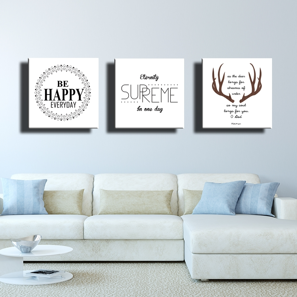 Three Nordic Style Quote Happy Memories Canvas Painting Decorative Throughout Latest Decorative Wall Art (View 19 of 20)