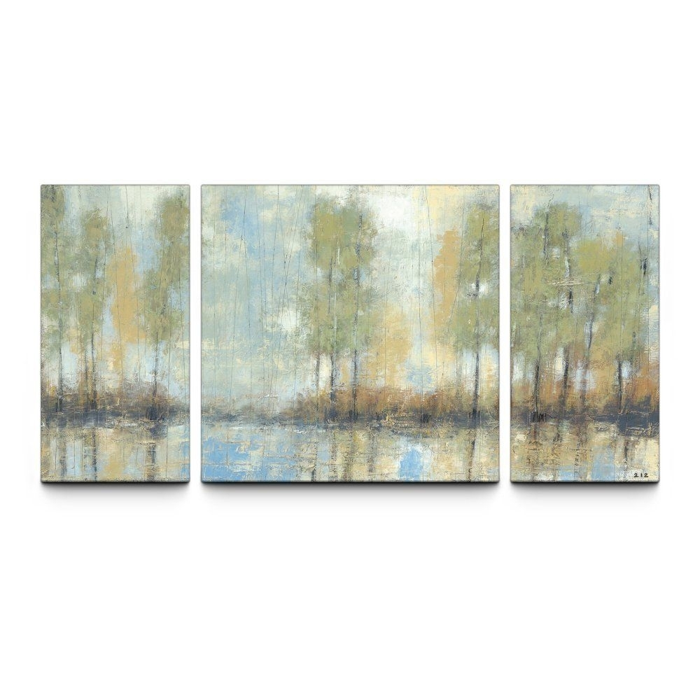Through The Mist 30 X 60 Textured Canvas Art Print Triptych – Wall With Regard To Most Recent Triptych Wall Art (View 12 of 20)