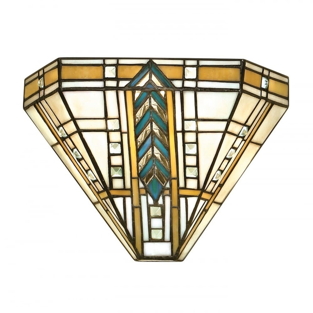 Tiffany Art Deco Uplighter Wall Washer Wall Light With Chevron Pattern Pertaining To Most Recent Art Deco Wall Art (View 14 of 20)