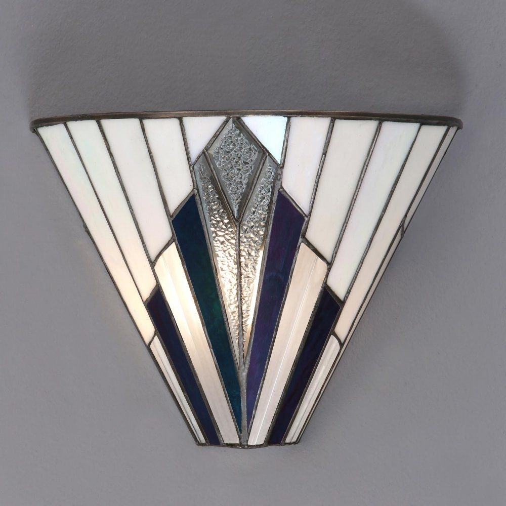 Tiffany Art Deco Wall Light With White, Blue, Purple And Clear Glass Pertaining To 2017 Art Deco Wall Art (View 18 of 20)