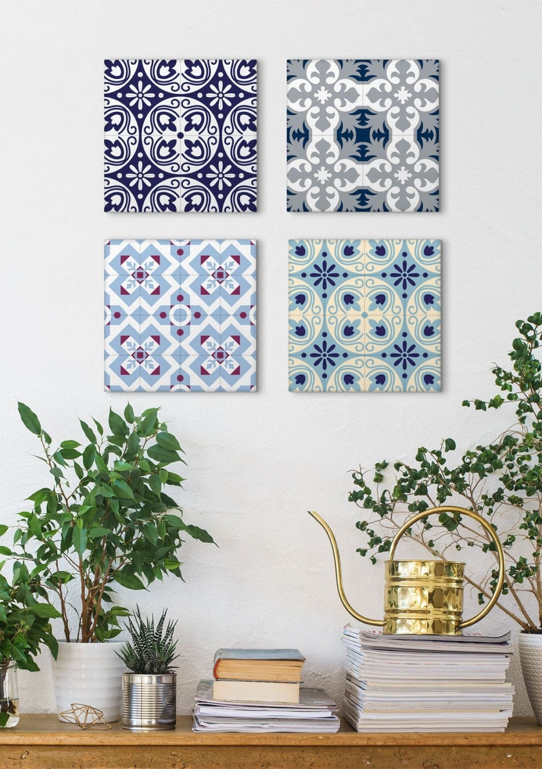 Tile Art Canvas Set, Set Of 4 Prints, Canvas Prints, Blue Canvas Art Within Current Tile Canvas Wall Art (View 11 of 20)