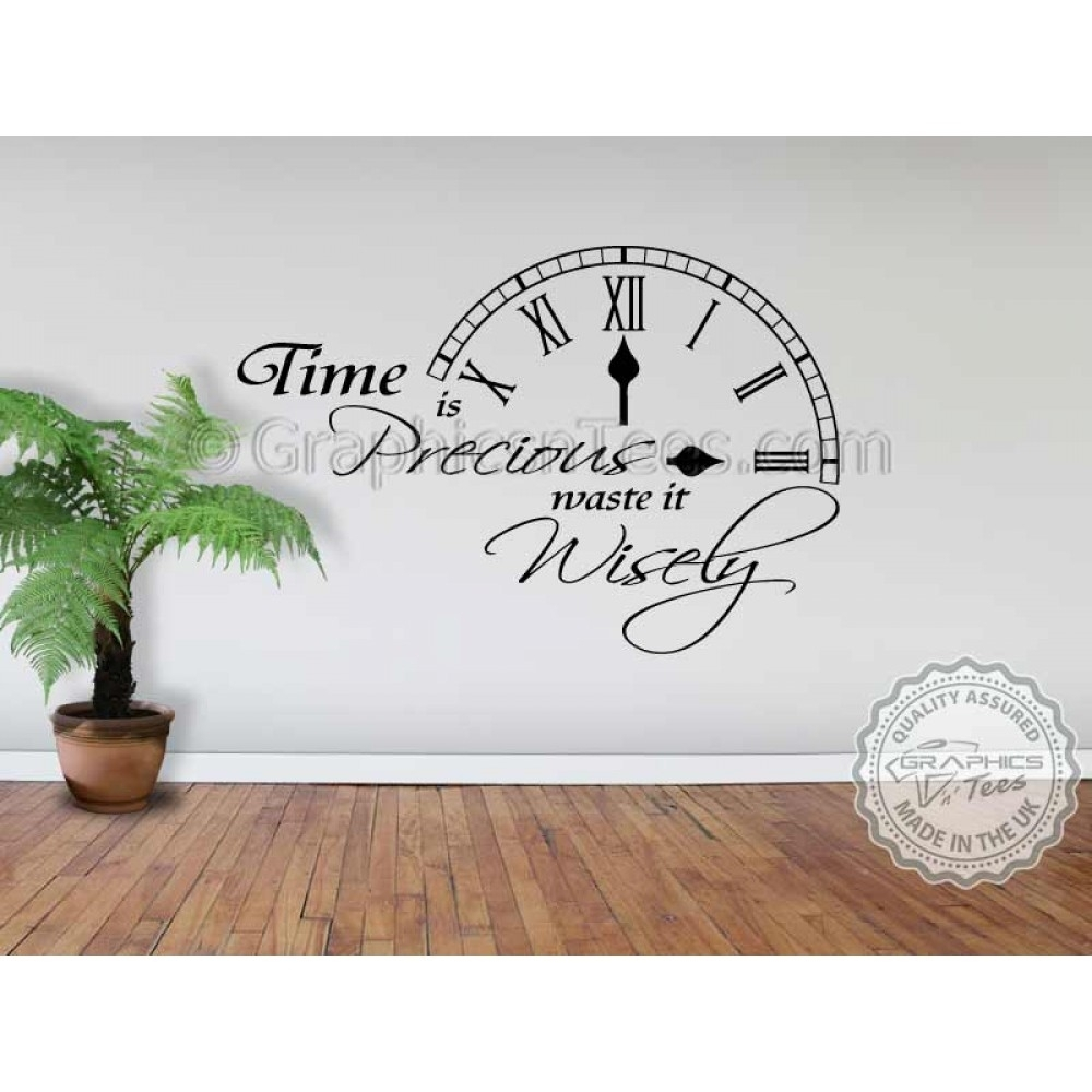 Time Is Precious Waste It Wisely Inspirational Wall Quote Family With Most Up To Date Inspirational Wall Art (View 2 of 15)
