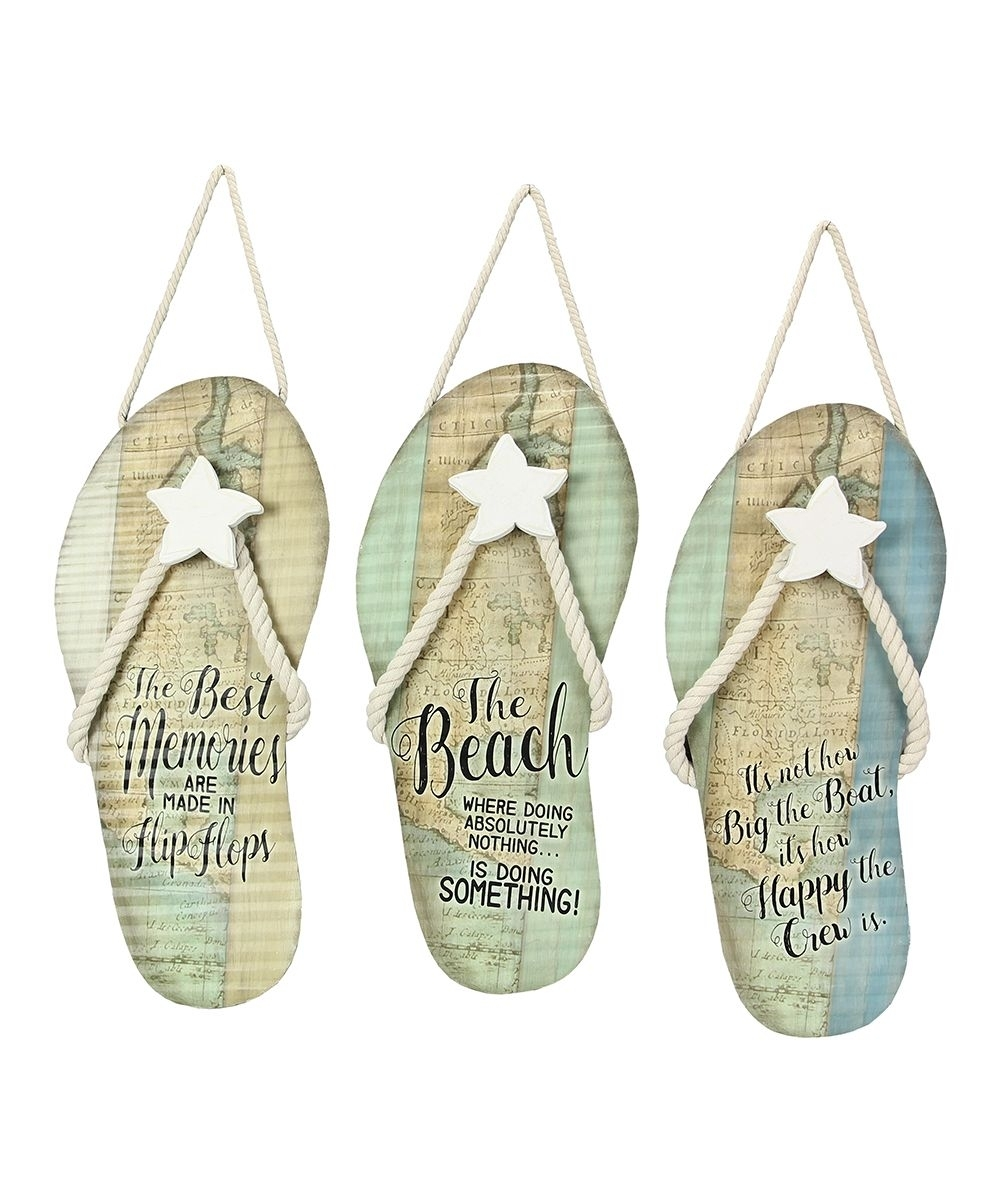 Tin Nautical Flip Flop Wall Art – Set Of Three | Nautical Flip Flops Pertaining To Most Recent Flip Flop Wall Art (View 10 of 15)