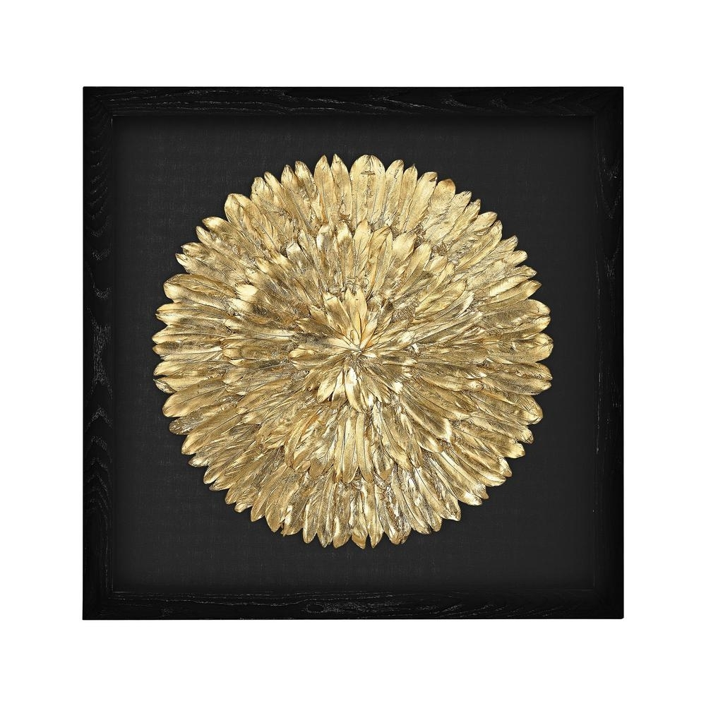 "Titan Lighting 35 In. X 35 In. ""gold Feather Spiral"" Wall Art Tn Intended For Recent Feather Wall Art (Gallery 7 of 20)"