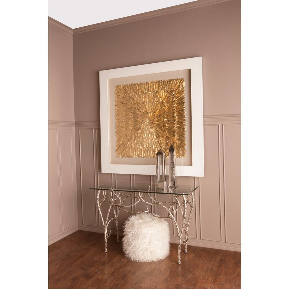 "Titan Lighting 55 In. X 55 In. ""gold Feather Spaturral"" Wood And Within Most Recent Feather Wall Art (Gallery 11 of 20)"