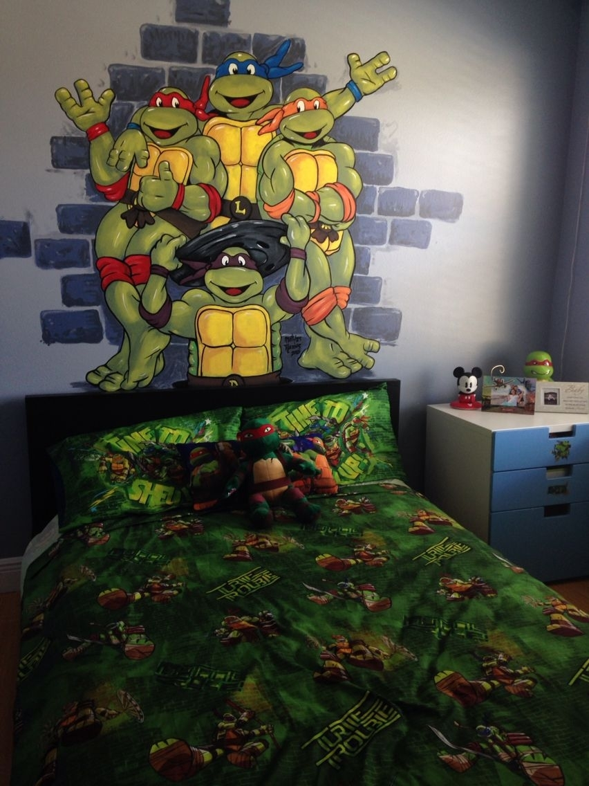 Tmnt Hand Painted Wall Mural Boy Room Toddler Preschool Ninja Throughout Recent Ninja Turtle Wall Art (View 16 of 20)