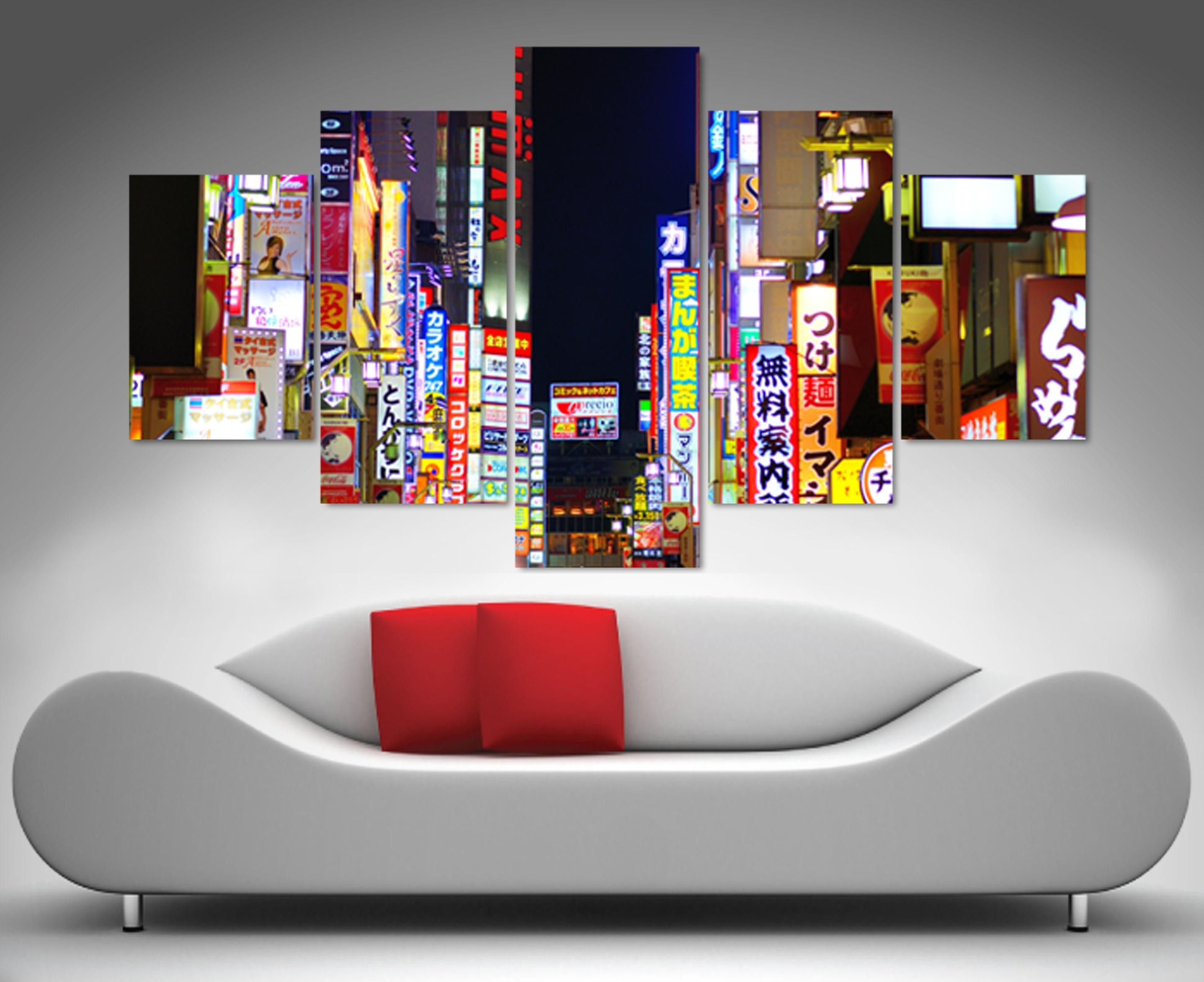 Tokyo Nights 5 Panel Wall Art Print Canvas Regarding Current 5 Panel Wall Art (View 7 of 20)