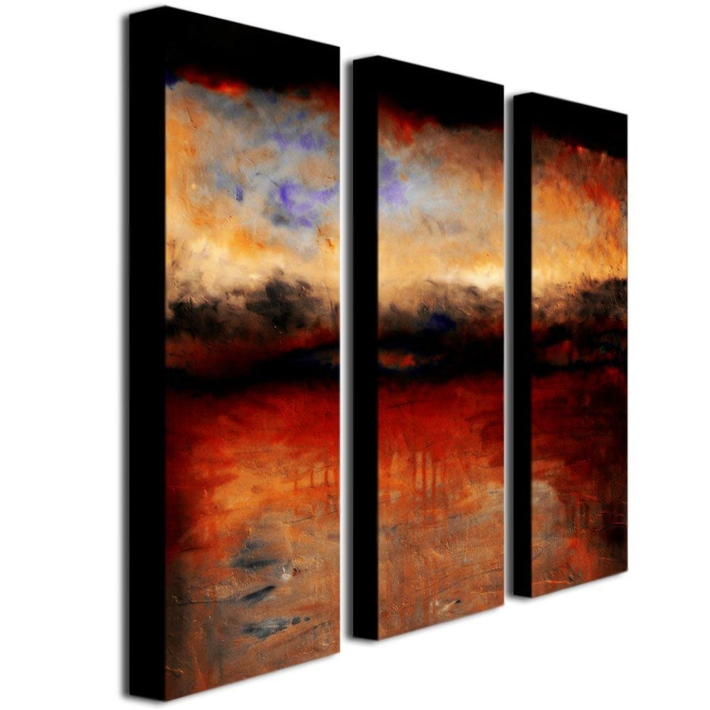 Trademark Fine Art Red Skies At Nightmichelle Calkins 3 Panel Regarding Most Popular Panel Wall Art (View 15 of 20)