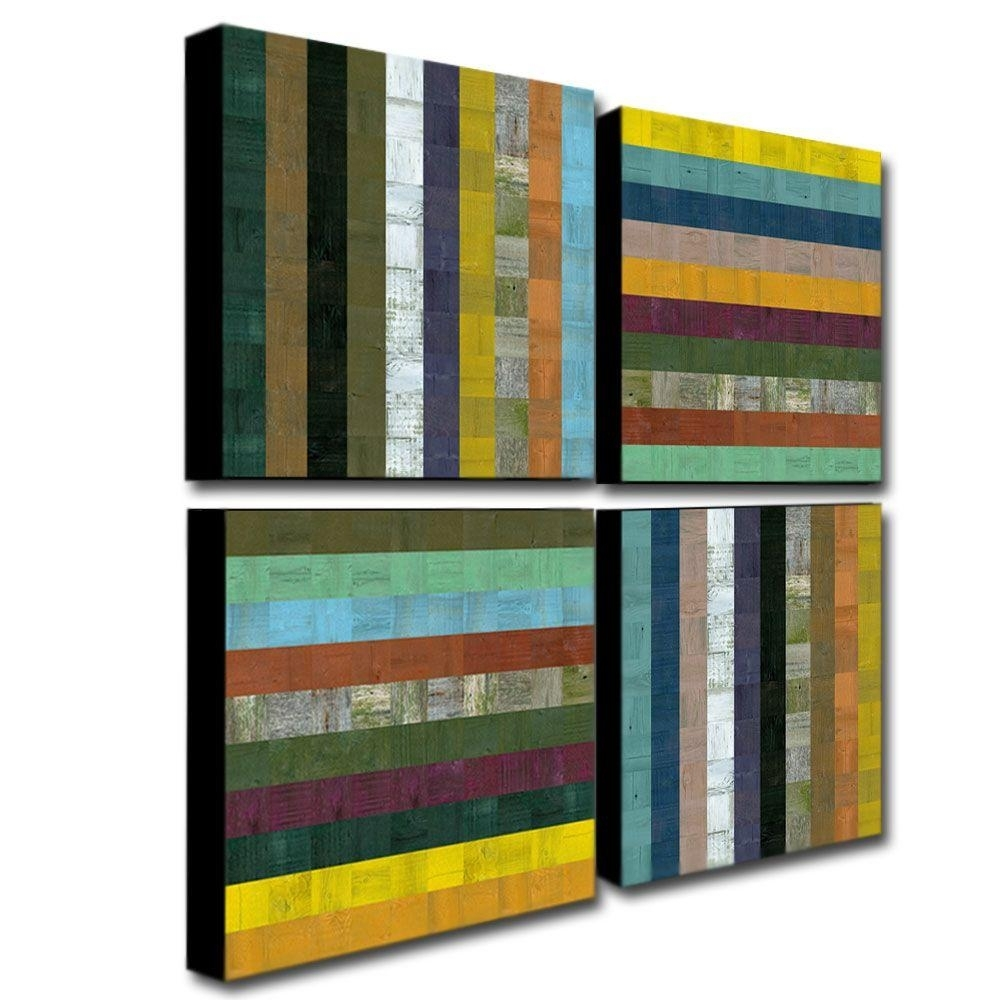 Trademark Fine Art Wooden Abstract Vmichelle Calkins 4 Panel For Most Popular Panel Wall Art (View 6 of 20)